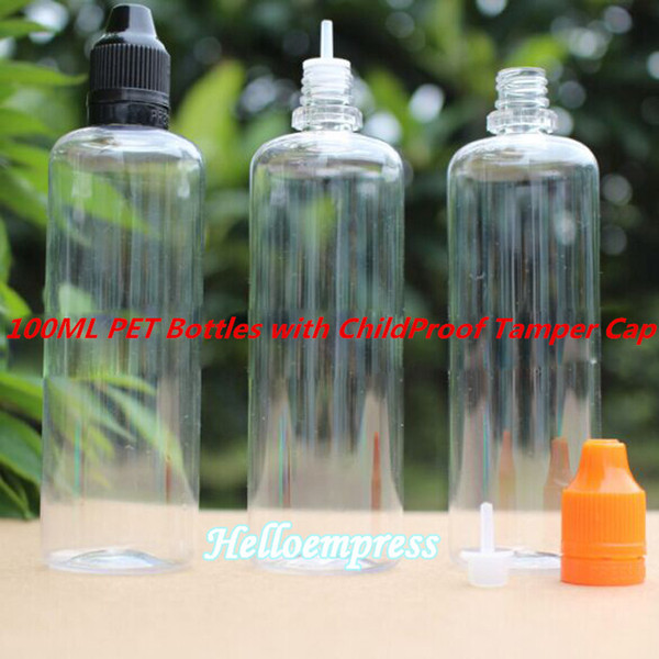 WHOLESALE 100ml PET Child Proof Tamper Lids colorful and Long Thin Tip Empty Dropper Bottles For E Liquid Ejuice with Cheapest Factory Price