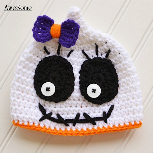 Super Cool Ghost Beanie,Handmade Knit Crochet Baby Girl Halloween Hat,Kids White Skeleton Cap with Bow,Toddler Photography Prop