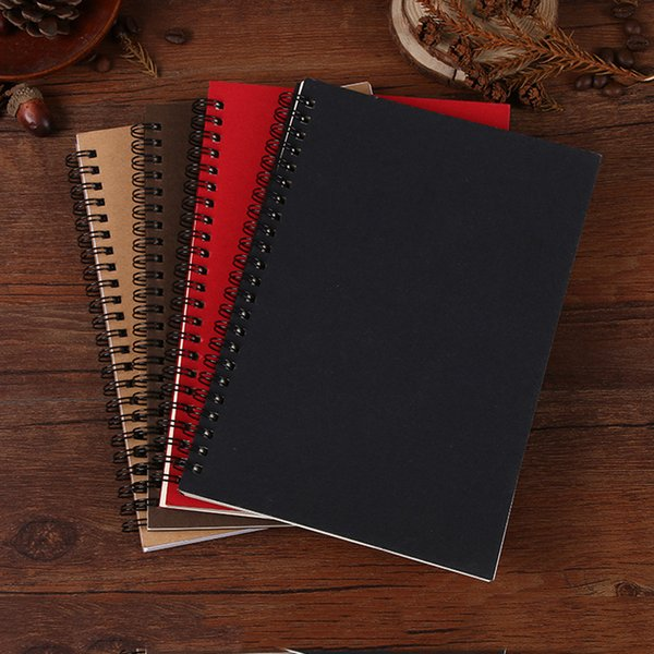 Wholesale- Creative A5 Business Coil Kraft Notebook Vintage Spiral Sketch Notebook Soft Copybook Stationery School Office Supplies