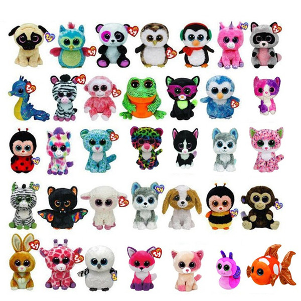 Ty Beanie Boos Big Eyes Kawaii Stuffed Animals Small Seals Plush Toys Penguin Dog Cat Panda Mouse Doll for Children's Toy Christmas Gifts
