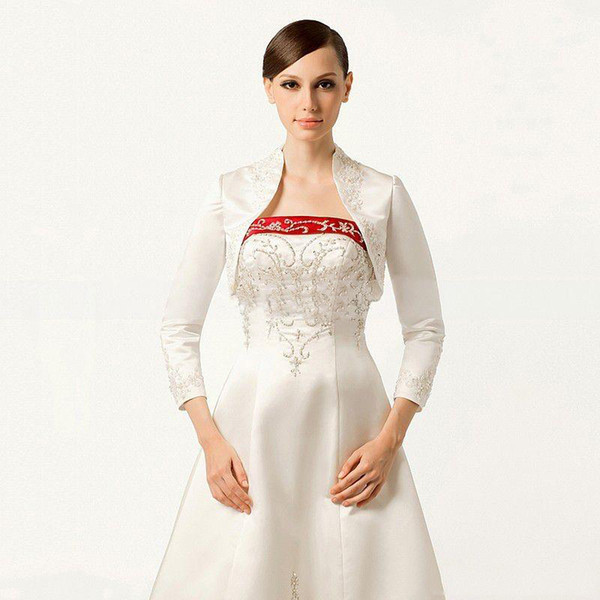 Latest Vintage Style Wedding Jacket With Embroidery Beaded 2016 3/4 Long Sleeve Bolero With Stading Collar Custom Made Cheap Bridal Wraps