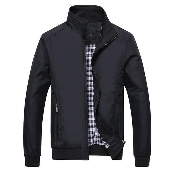 Wholesale- Spring Autumn 2017 Mandarin Collar Men's Business Jackets Solid Waterproof Dress Jackets For Men Bomber Jacket Coat