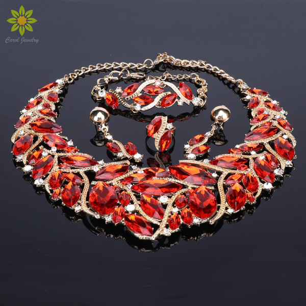 Fashion Bridal Jewelry Sets Wedding Necklace Earring Bracelet Ring For Brides Party Prom Costume Accessories Decoration Women