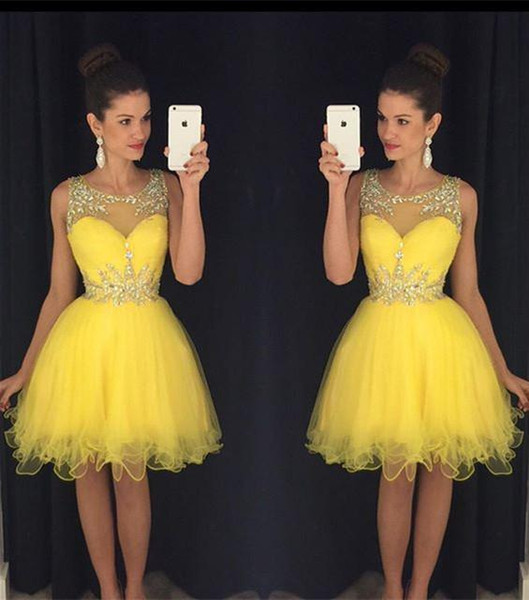 2016 Yellow New Homecoming Dresses Sheer Crew Neck Beaded Crystals ...