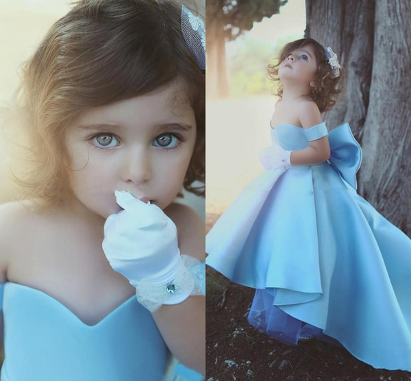 2017 Cheap Cute Flower Girls Dresses For Weddings Off Shoulder High Low Length Sky Blue Satin Bow Birthday Children Girl Pageant Gowns