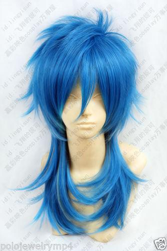 100% Hot Sell Brazil dark-haired woman wig cosplay Heat Resistant synthetic?Cosplay Blue Mixed Medium Heat Resistant Wig New Women's Hair wi