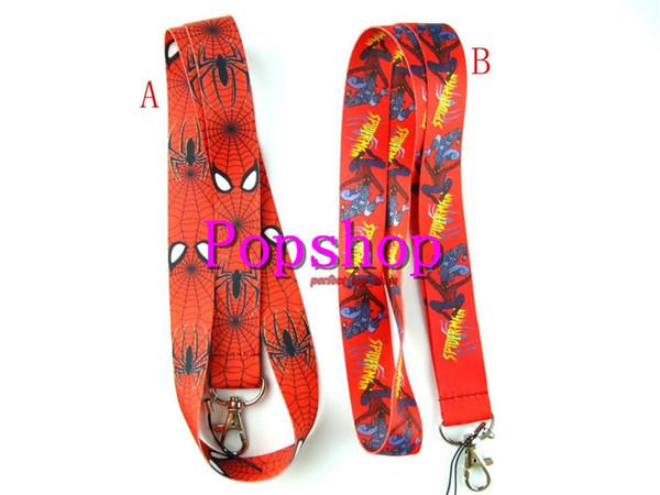 Hot!50pcs Avengers Hero Spider-man Red Lanyard Neck Strap Lanyard ID Holder Keys Mobile Phone Popular Lanyard Gift