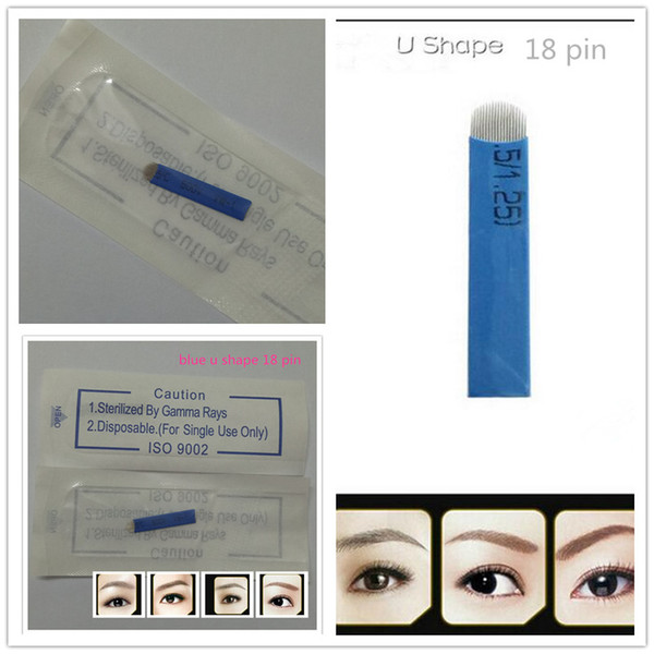 top popular Wholesale-50 PCS 18 Pin U Shape s Permanent Makeup Eyebrow Embroidery Blade For 3D Microblading Manual Tattoo Pen 2020