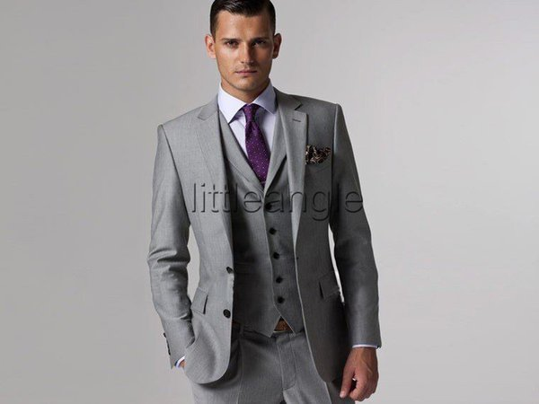 Cheap Custom Made Mens Light Grey Suits Jacket Pants Formal Dress ...