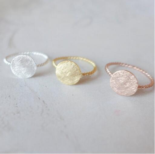 10PCS/lot Fashion 18k gold plated silver rose gold plating rings Screw thread round cakes ringsfor women Wholesale Free shipping