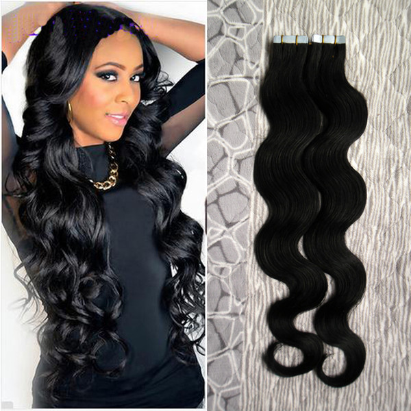 Color #1 Jet Black Brazilian Body Wave Hair Human Hair Tape Hair Extensions 40 pieces pu skin weft hair 100g tape hair extensions wavy