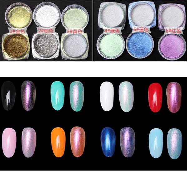 Atacado-2g Nail Art Tips Espelho Em Pó De Ouro Sliver Chrome Pigment Glitter Unhas De Alumínio Polonês Gel Projeto Lantejoulas Esponja Ferramentas Escova