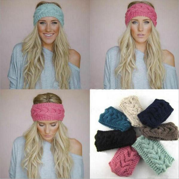 best selling Crochet Headband 31 Colors Wool Crochet Headband Knit Hair band Winter Warm headbands Girls Headwrap Ear Muffs LJJA677