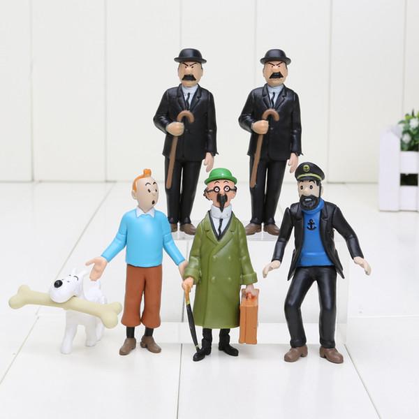 6pcs / set 4-8cm Les aventures de Tintin PVC Figurines Collection Modèle Jouets Poupées Bébé Cadeaux