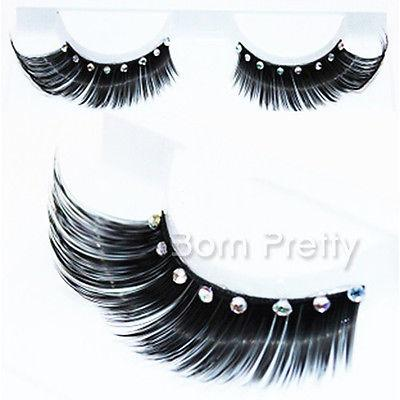 Wholesale-1 Pair Curly Thick Rhinestone False Eyelash For Beauty Party Stage Eye Makeup Z06