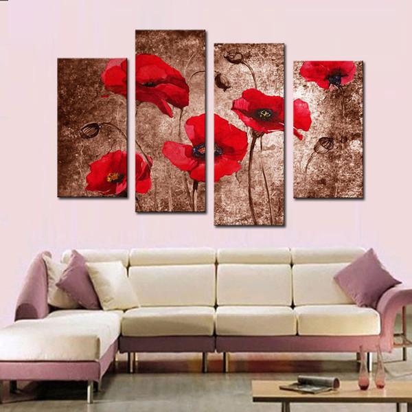 4 Picture Combination Red Poppy Flower Art Stampe su tela di dipinti floreali su tela Wall Art for Wall Decorazione per la casa