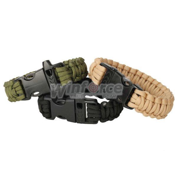 3 Farben Paracord Parachute Cord Notfall Überleben Armband Seil mit Pfeife Schnalle Olive Green / Black / Khaki