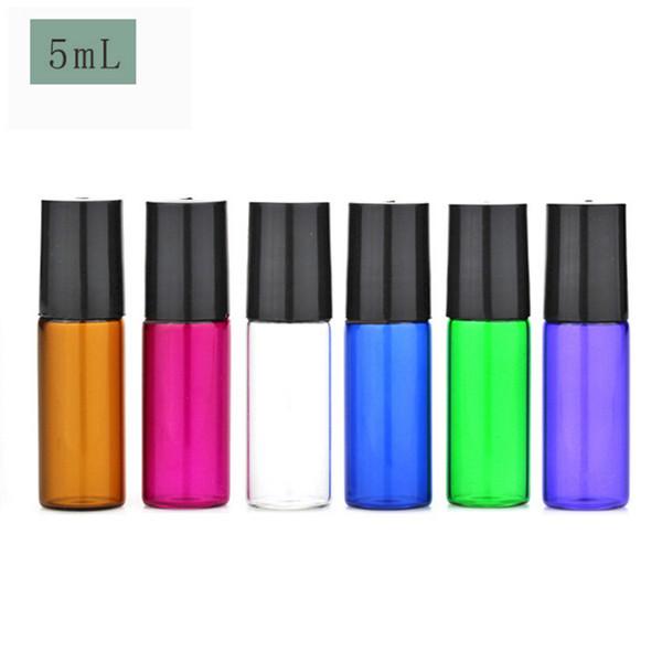 Vendita calda 2400 pz / lotto 5ml colorato di vetro vuoto rotolo su bottiglie per profumo 5cc piccolo olio essenziale roll-on bottiglia 6 colori per scegliere