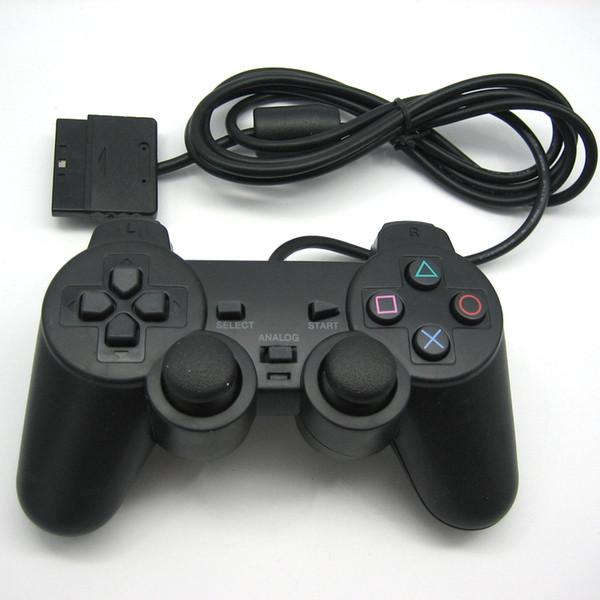 Dz0102 wired vibração dupla controlador de choque gamepad compatível para playstation 2 ps2 console video games preto