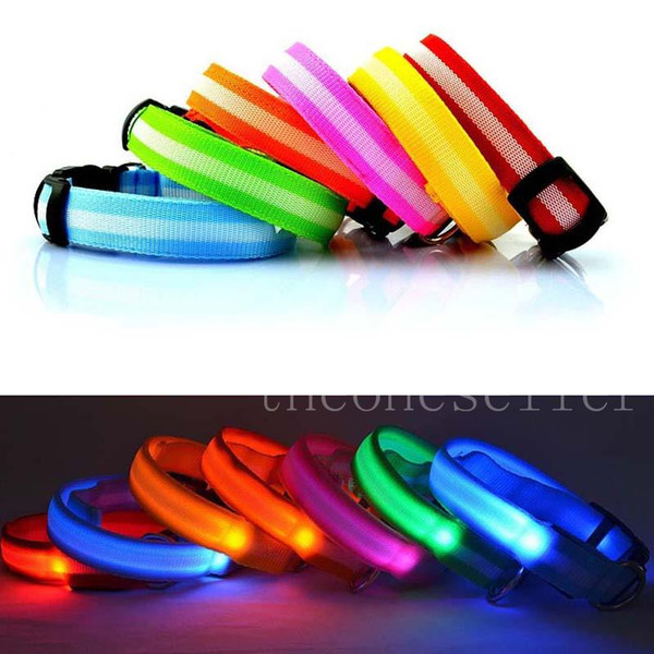 best selling Pet Dog Collar LED Flashing Glow Necklace Leashes Cat Collars Adjustable Nylon 8 Colors 3size 2.5cm For Dog Safety Factory DHL