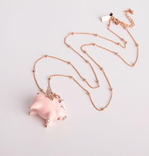 Authentic Big Flying Pig Pendant Necklace Pink Long Crystal Rose Gold Plate