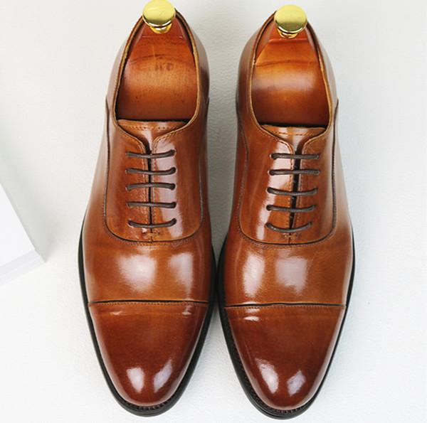 Yeni Gelenler erkekler elbise ayakkabı hakiki deri siyah kahverengi italyan moda iş oxford ayakkabılar 2017