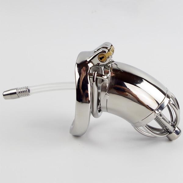 Anti off Cravado anel Com dispositivo de cinto de Castidade cateter de metal em aço inoxidável penis bloqueio castidade anel de pênis uretral