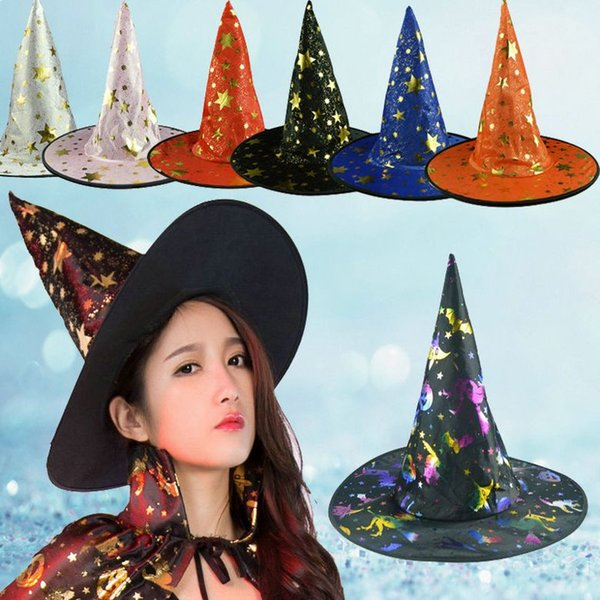 Witch Pointed Cap Colorful Star Print Halloween Costume Party Hats Women Men Halloween Costume Accessory Devil Cap
