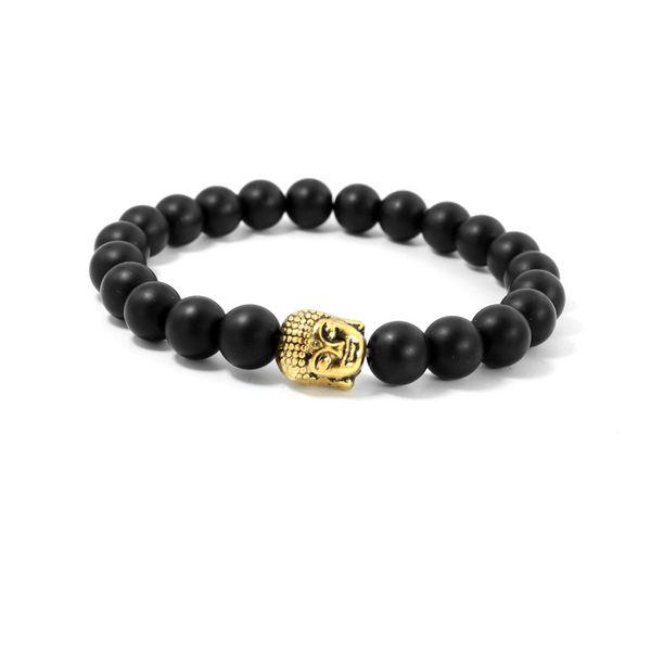 8mm Black Agate Lava Stone Bead Buddha Bracelets For Women and Men Jewelry Natural Stone Bracelets & Bangles Pulseras