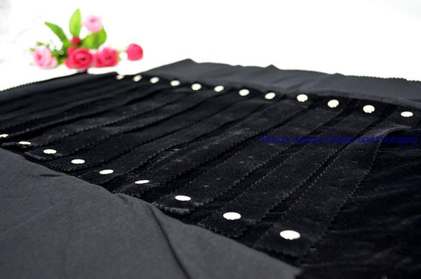 Оптовая бархатный футляр черного 60Pairs серьги ювелирных изделий хранения ролл сумка организатор чехол