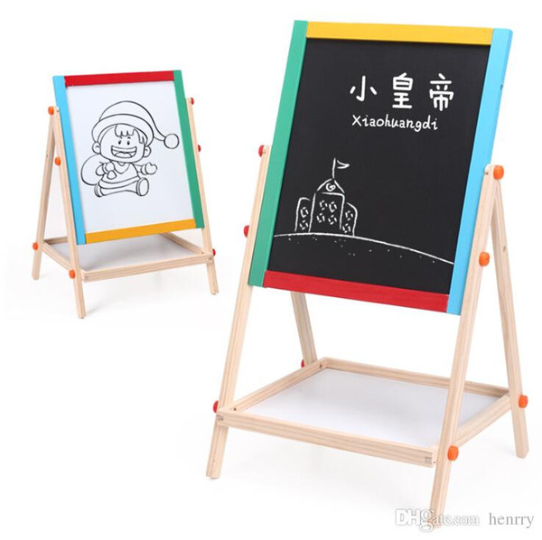 top popular Wood sided magnetic sketchpad sketchpad. Painted wooden writing board early childhood educational toys. Easel, drawing board 2019