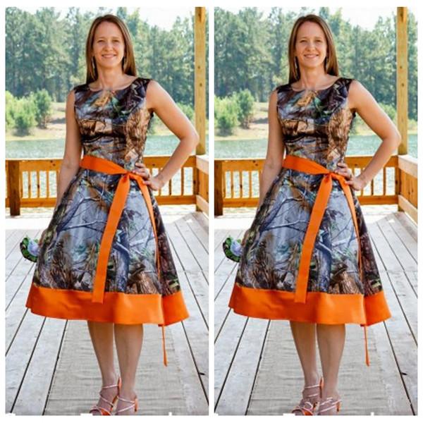 2016 Scoop Neck Camo Tea Length Prom Dresses Ribbon Orange ...