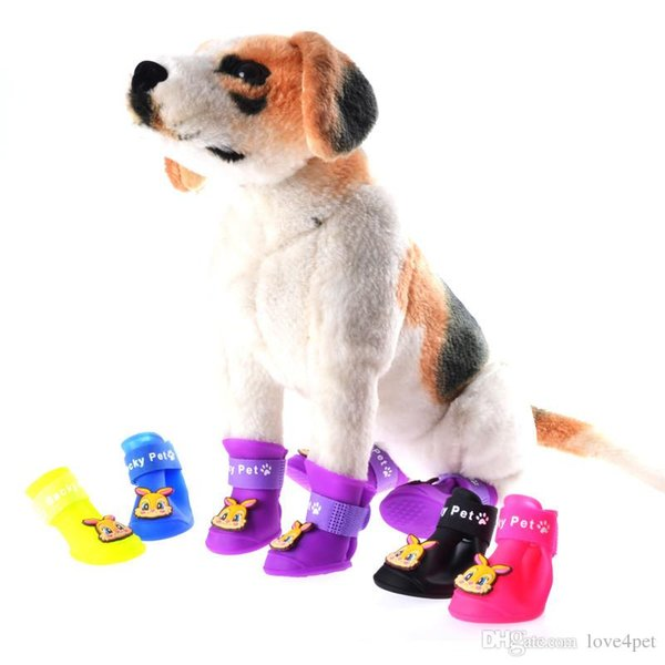 E53 4pcs/lot Fashion Dog Shoes Pet Shoes Pet Boots Anti Slip Skid Waterproof Rain boots free shipping