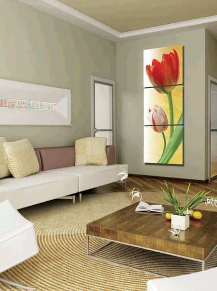 Free shipping 3 Pieces no frame Hot selling wall art picture on Canvas Prints tulips Calla Lily Lotus leaf fish Abstract cartoon flowe
