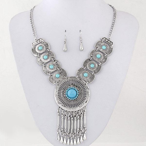 Retro Collares Jewelry Sets For Women Fine Accessories Wedding Bridal Circle Part Pendant Necklace Earrings Set