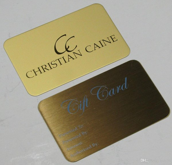 Golden carved logo metal VIP invitation cards engrave metal card with customized design for wedding card.