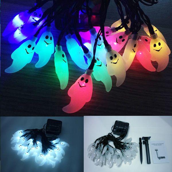 30 LED de luz solar de cadena al aire libre LED Ghost Solar String para Hallowwen Festival de la fiesta de Navidad Decoración de interior al aire libre