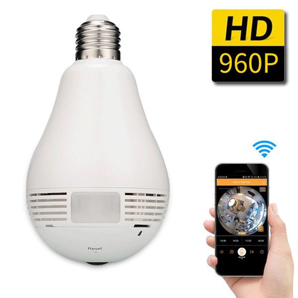 12PCS - 360 Degree Fisheye Panoramic WiFi P2P Network IP Camera Bulb Light Network CCTV Camera Home Security System 960P