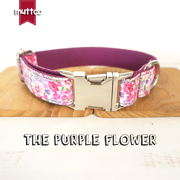 MUTTCO retailing personalized particular dog collar THE PURPLE FLOWER creative style dog collars and leashes 5 sizes UDC049