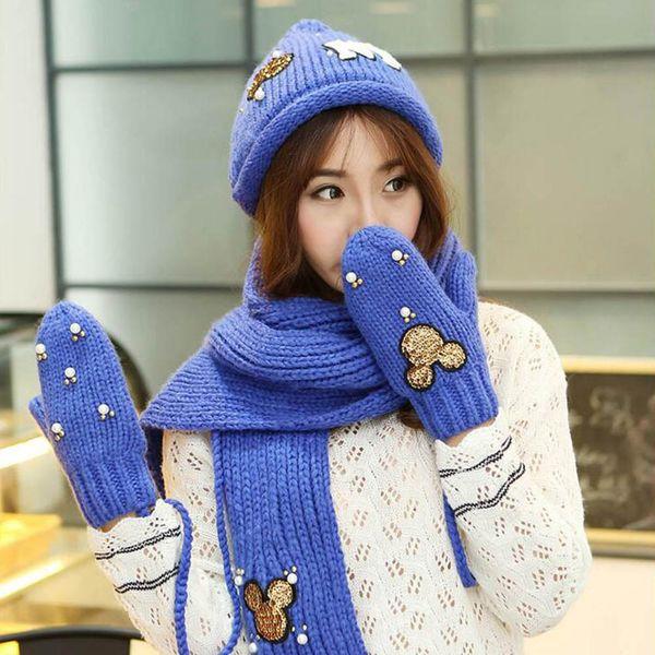 Wholesale-Knitting Female Scarf Hat Glove Sets Cartoon Fashion Winter Autumn Thicken Scarves Women Hats Gloves Set All-Match Three-Piece