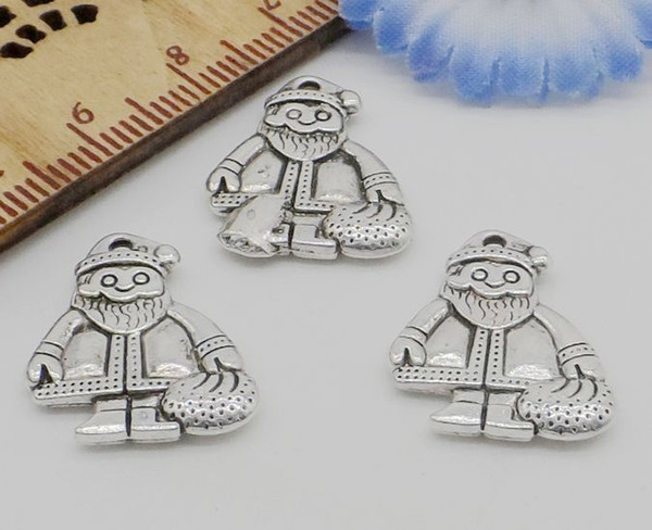 100Pcs Antique Silver Father Christmas Charms Pendant For Jewlery Making 19x16mm