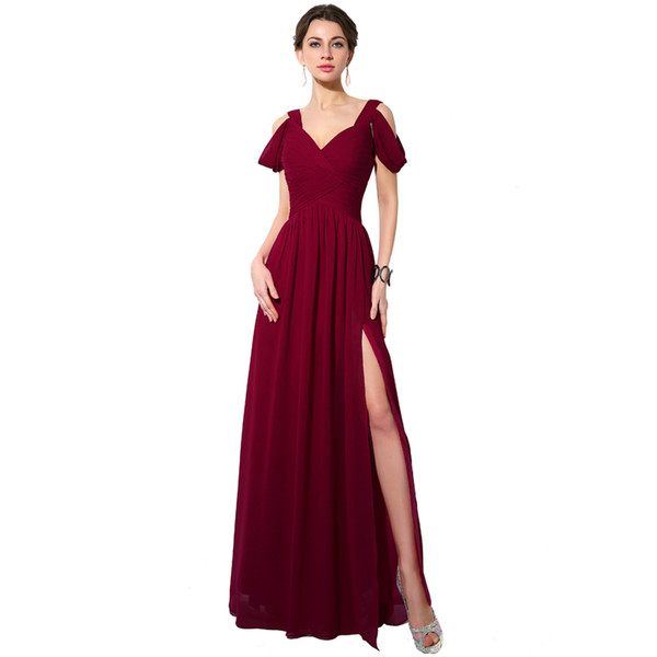 2019 Long Dark Burgundy Bridesmaid Dresses V Neck Chiffon Floor Length Wedding Guest Wear Party Dress Plus Size Maid of Honor Gowns