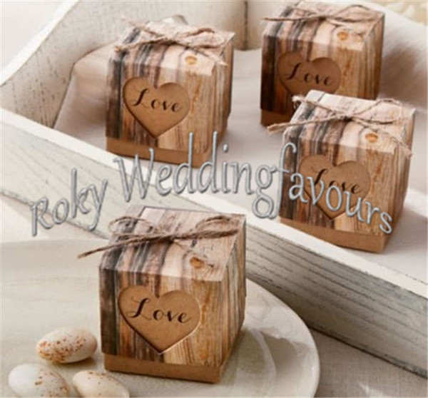 "FREE SHIPPING 100PCS 2""x2""x2"" Rustic Favor Boxes Heart with Love Rustic Candy Boxes Wedding Favors Party Table Decor Ideas"