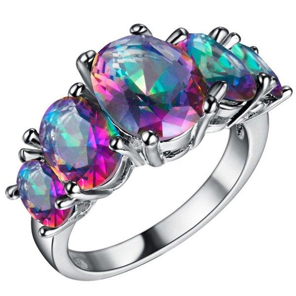 2016 vendita calda 8 stili Victoria all'ingrosso taglio ovale Mystic Rainbow Topaz Ametista Sterling Silver Ring Size 6 7 8 9 spedizione gratuita