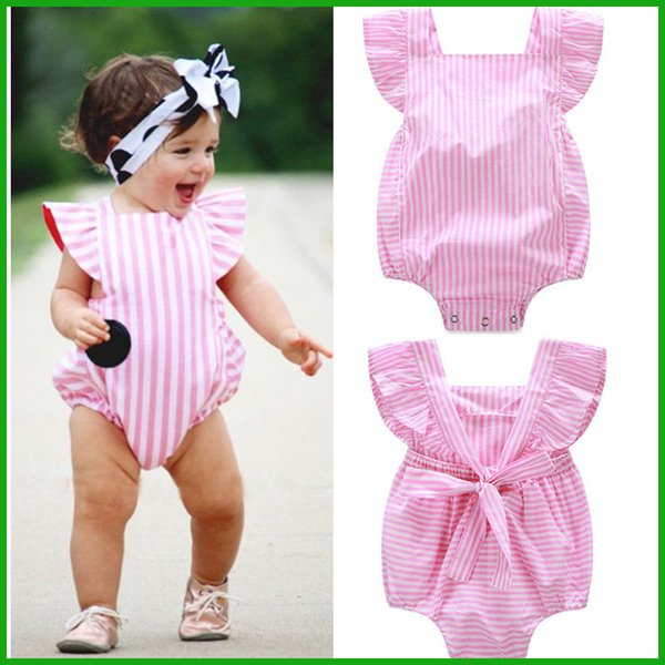 top popular toddler baby boys girls rompers new arrival stripes pink solid lovely baby girls bodysuits children kids outfits free shipping 2020