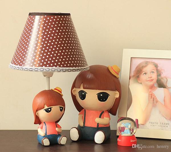 Exclusivo original do bebê menina bonitinha lâmpadas lâmpadas de cabeceira estilo pastoral candeeiro de mesa lâmpada de mesa regulável selvagem