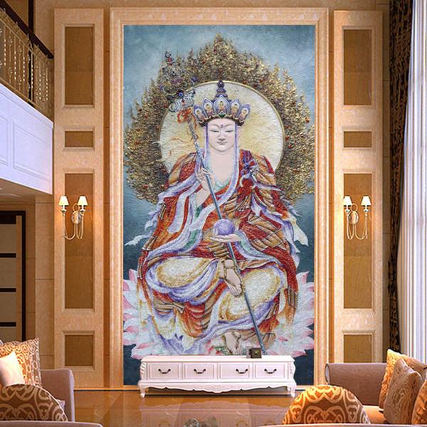 Großhandel 3D Relief Buddha Tapete Benutzerdefinierte Fototapete  Schlafzimmer Flur Tür 3D Tapete Buddhismus Kunst Wandmalereien Room Decor  Tapeten ...