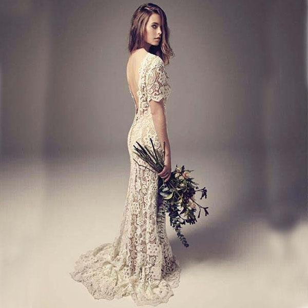top popular Vintage Wedding Dresses Sheath Column Backless Full Lace Boho Bridal Gowns with Illusion Short Sleeves Sweep Train Cheap High Quality 2019