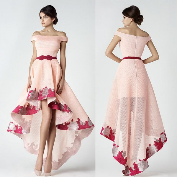 Saiid Kobeisy High Low Prom Dresses Off The Shoulder Appliqued Party Gowns Cheap Evening Wear For Women