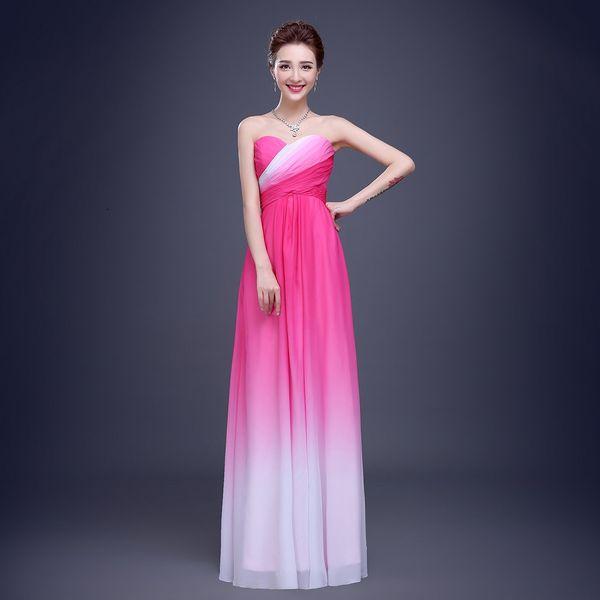 Vestidos 2017 Prom Dress Gradient Ombre Chiffon Strapless Long Train ...